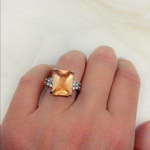 Jewelry - 925 Sterling Silver Morganite and Diamond CZ Ring